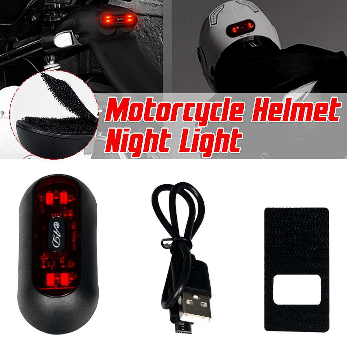 Universal Bicycle Front and Rear Helmet Safety Flashing Warning Night Light