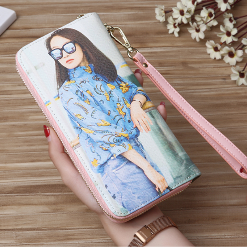 Custom Two Photos Wallet Women Men Engrave DIY Photo Long Zipper Wallets Mother's Birthday Day Gift for Her Wedding Bridesmaid