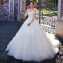 Vestido de novia de manga larga de línea A con encaje elegante de cierre de botón