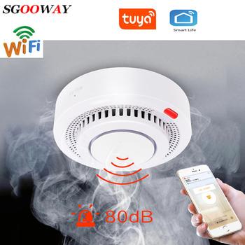 Tuya WiFi czujnik dymu ochrona przeciwpożarowa detektor dymu dym dom kombinacja Alarm przeciwpożarowy System alarmowy do domu ogień tanie i dobre opinie sgooway ZC-TS001 Czujka dymu 2 4G White Tuya Smart Life Flashing sound and APP Push No need hub