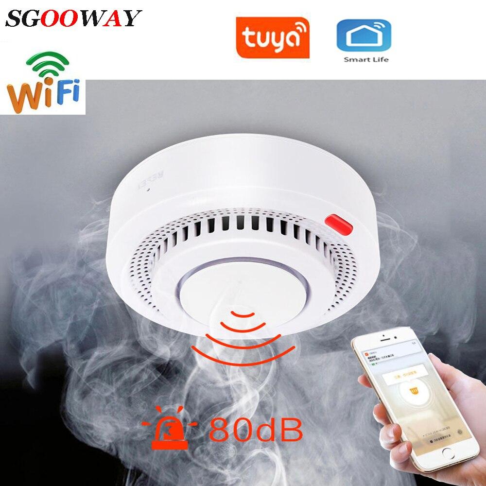 Güvenlik ve Koruma'ten Duman Dedektörü'de Tuya akıllı Wifi duman yangın sensör dedektörü Alarm ile uyumlu akıllı yaşam title=
