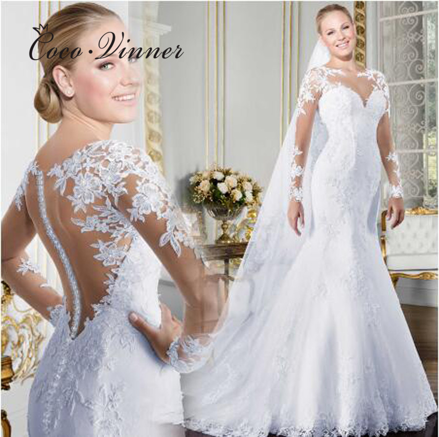 Sheer V-neck Long Sleeve Mermaid Wedding Dress 2020 See Through Illusion Back White Wedding Gowns Lace Appliques Bride W0058