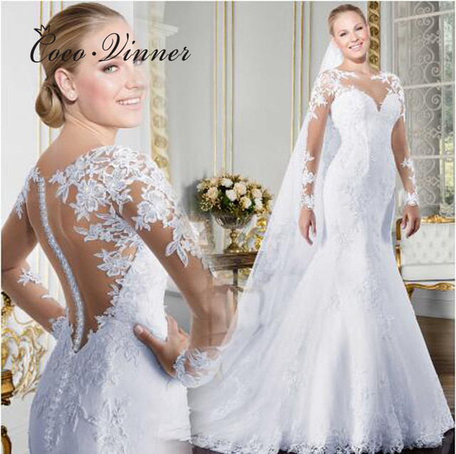 Sheer V neck Long Sleeve Mermaid Wedding Dress 2020 See Through Illusion Back White Wedding Gowns Lace Appliques Bride W0058