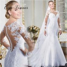 فستان زفاف حورية البحر شفاف ذو رقبة على شكل v وأكمام طويلة موديل 2020 ، فستان زفاف أبيض شفاف مزين بالدانتيل W0058
