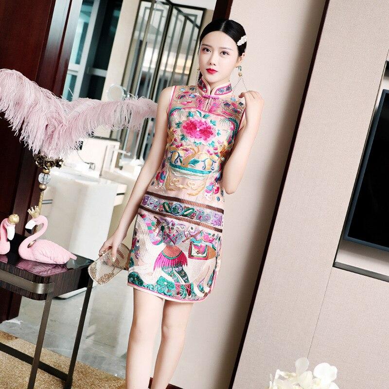 2020 Vintage Chinese Embroidery Cheongsam Sleeveless Short Dress Embroidery Floral Ladies Qipao Cheongsam Elegant Chinese Dress
