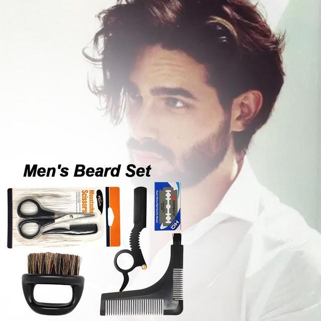 Men's Shaving Template Shaving Brush Beard Styling Comb Grooming Plate Manual Vintage Blade Holder Razor Beard Cleaning Brush 5