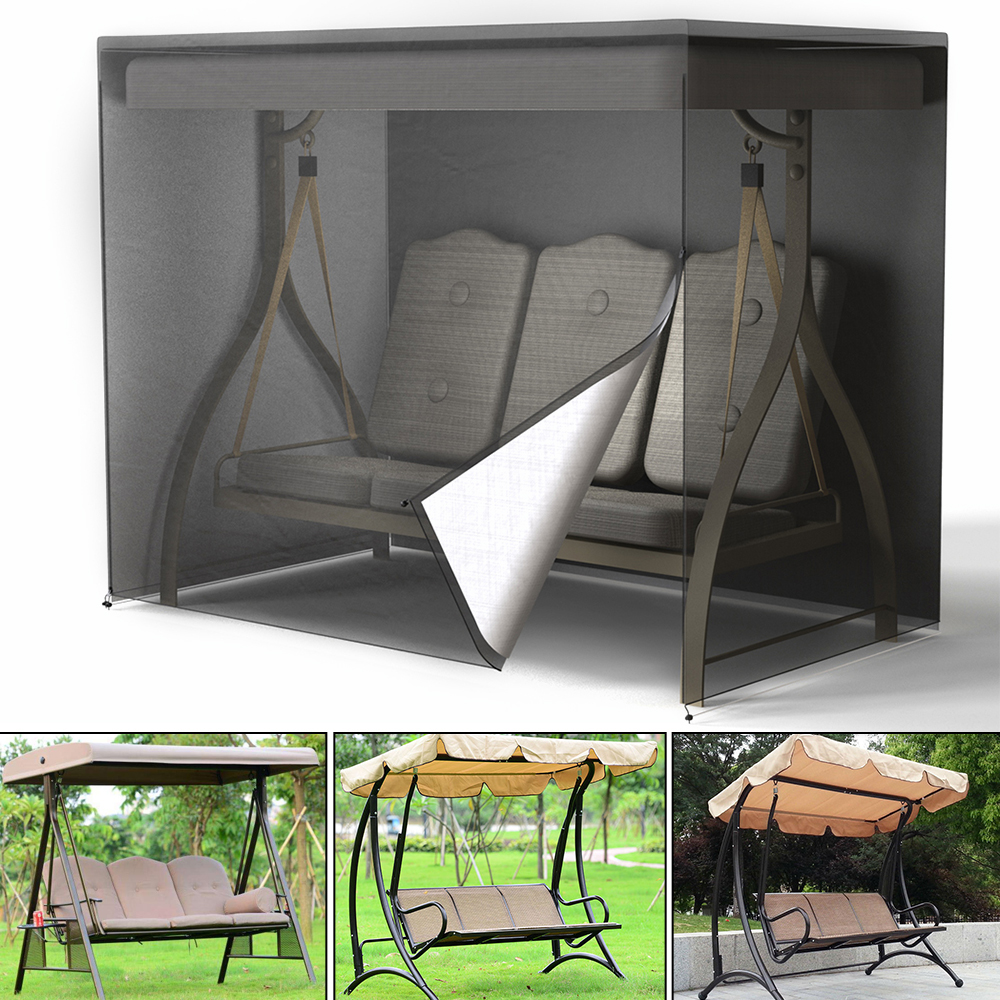 Waterproof Garden Swing Seat Cover Patio Outdoor Furniture 2/3 Seat Hammock Cover UV Protect Black Sunshade Courtyard Canopy(China)