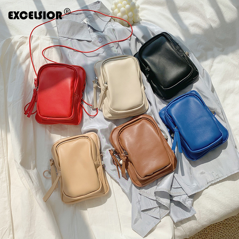 EXCELSIOR PU Women's Bag Quality Crossbody Bags Mini Vertical Version Phone Bag INS Fashion Small Flap Bolsos Mujer Waist Bag