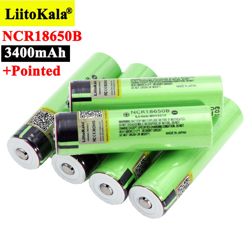 Литиевая аккумуляторная батарея Liitokala NCR18650B, 3,7 в, 3400 мАч, 18650