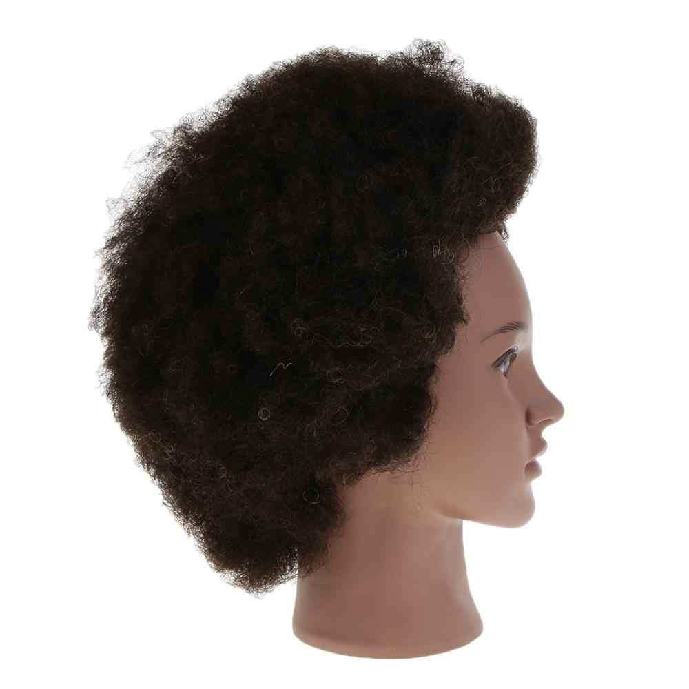 Mannequin Hoofd Met 100% Human Hair & Stand, Kosmetiek Afro Haar Mannequin Hoofd Voor Praktijk Styling Vlechten Snijden Display
