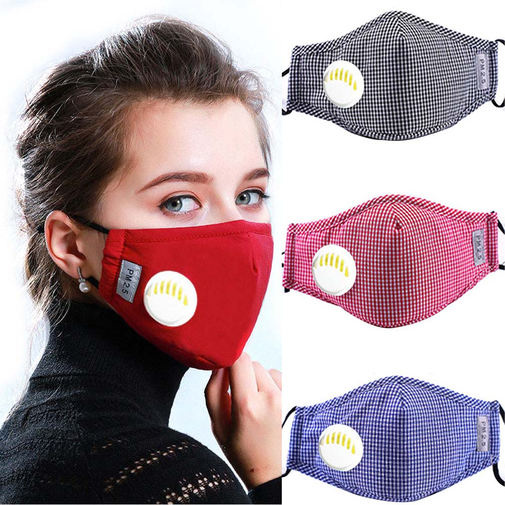 Unisex Respirator Mask With Breathing Valve Washable Cotton Activated Carbon Filter PM2.5 Mouth Masks Anti Dust Allergy