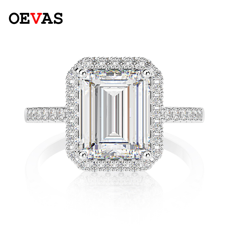 OEVAS 100% 925 Sterling Silver Created Moissanite Gemstone Engagement Wedding Cocktail Diamonds Ring Fine Jewelry Wholesale