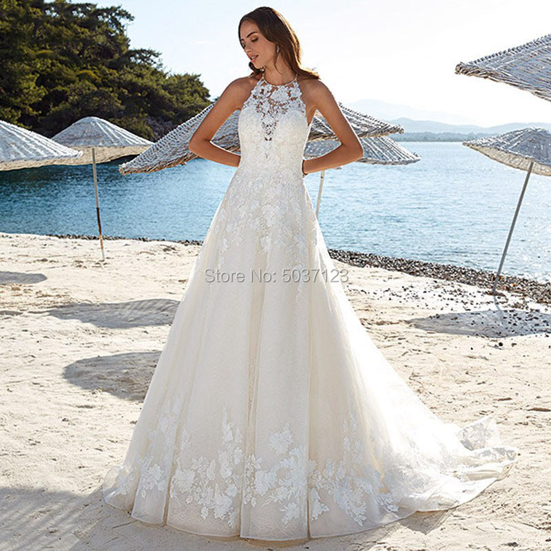 Wedding Dresses Vestido De Noiva Halter Lace Appliques Bridal Gown A Line Sleeveless Court Train Backless