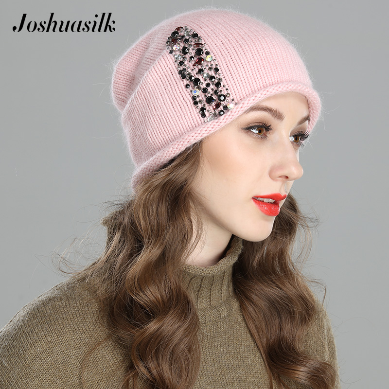 JOSHUASILK New Style Autumn Winter Women Hat Knitted Angora Wool One Layer Colored Stone Jewelry For Girl Hat