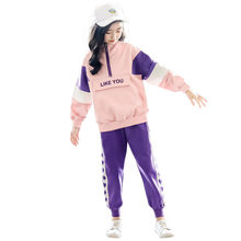 Korean Teenage Kids Sport Clothing Set New Fashion Patchwork Tracksuit Children Girls Outfits Suit Set for Girl Clothes Stylish цена и фото