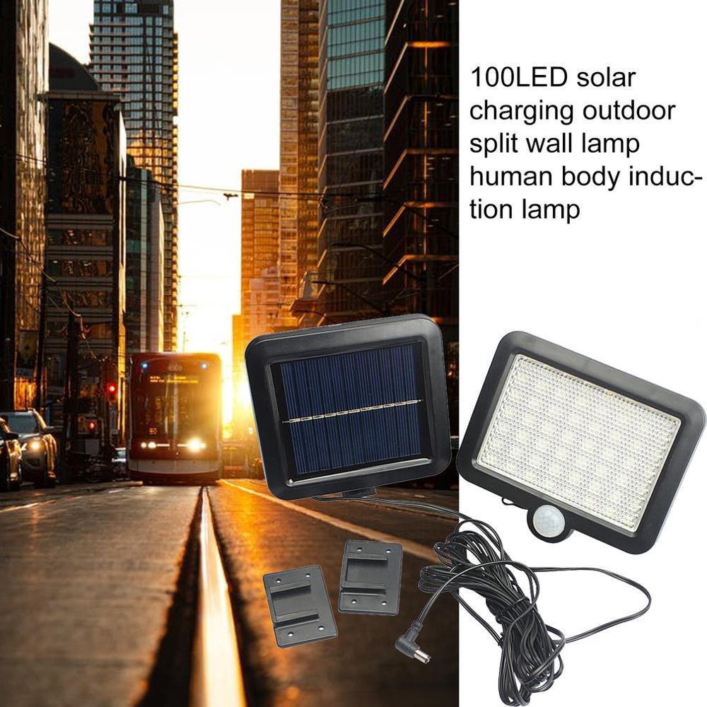 Купить с кэшбэком 100LEDs Solar Power Outdoor Waterproof Garden Fence Patio Security PIR Infrared Motion Sensor Light Wall Mounted Night Lamp
