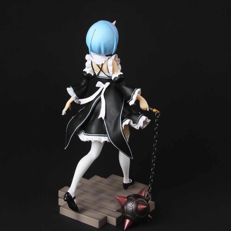 20CM Anime Re: la vida en un mundo diferente de zero Rem figura cambio de cara traje de sirvienta bandeja martillo de meteorito Rem MODELO DE figura de acción