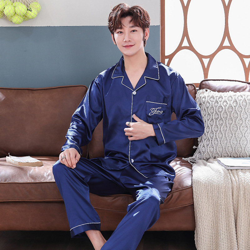 Autumn New Products Cardigan Stain Silk Fabric Pyjamas Long Sleeve Men-Outer Wear Tracksuit Fold-down Collar Youth Pajamas