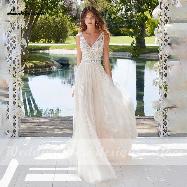 Boho Lace Wedding Dress 2021 Sleeveless Appliqued Beach Bride Dress A-Line Tulle Bride Wedding Gowns for Women vestido de novia 3