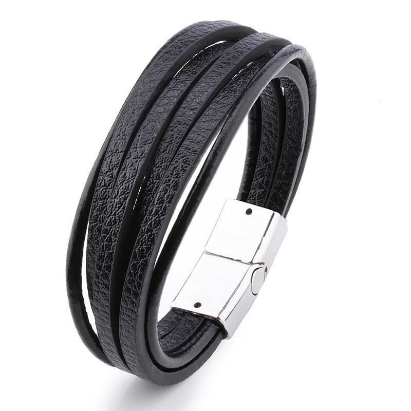 Мужской браслет, многослойный кожаный браслет с магнитной застежкой, Воловья кожа, плетеный многослойный браслет, модный браслет на руку, pulsera hombre - Окраска металла: 10