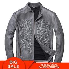 2020 Vintage Grey Men Skulls Motorcycle Leather Jacket Plus Size XXXXL Genuine Cowhide Spring Slim Fit Biker's Leather Coat недорого