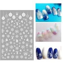 Christmas Cartoon Nail Sticker Watermark Manicure Sticker for Xmas Eve Home Garden Party Christmas Beauty Nail Snow Tree Sticker