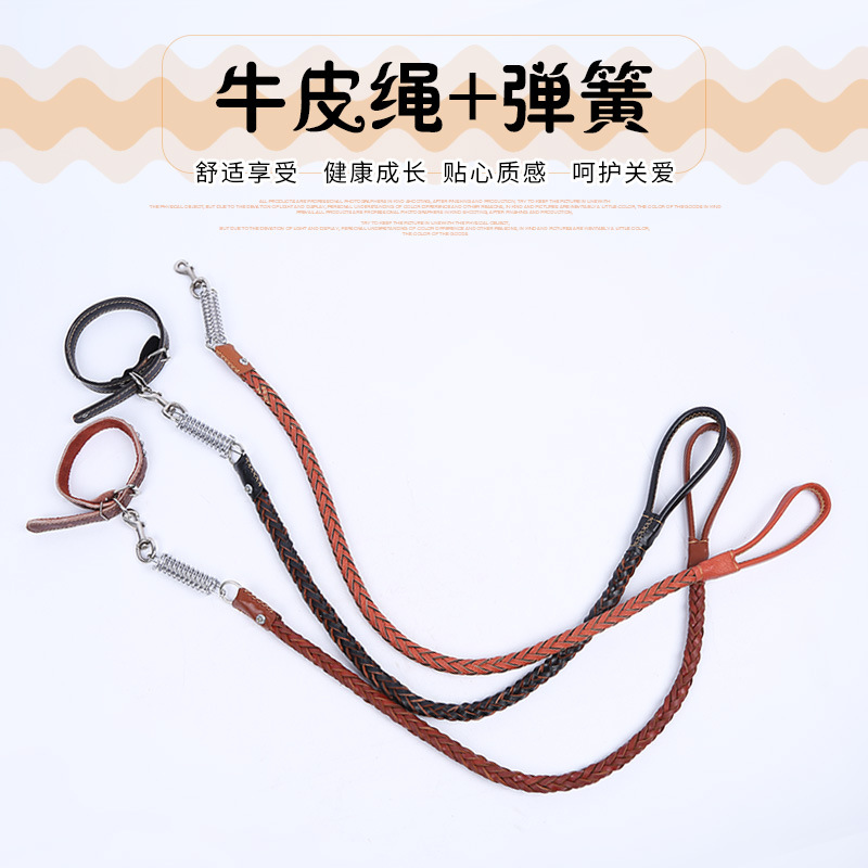 Cowhide Spring Haulage Rope Package Proof Punch Dog Supplies Medium Large Dog Dog Collar Golden Retriever Dog Chain