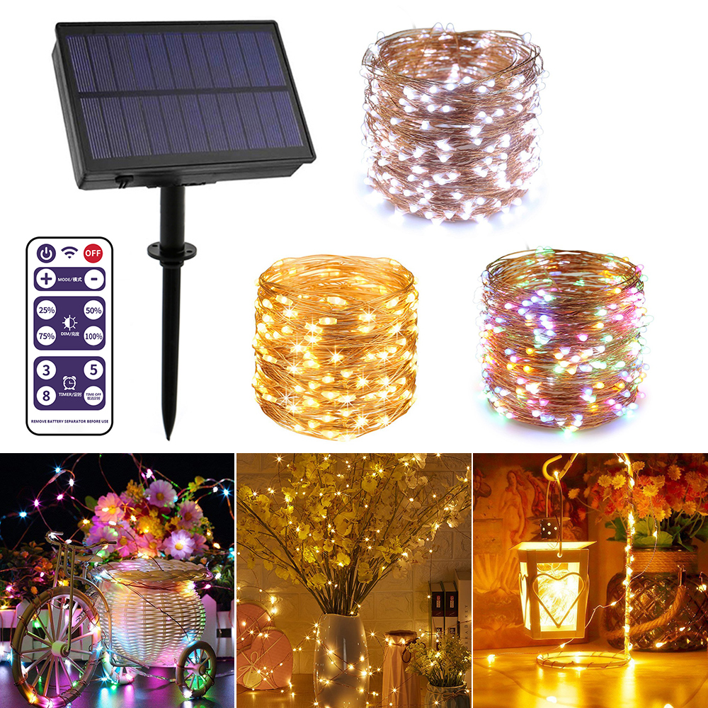 100/200 LED Copper Wire Solar String Lights 8 Modes Outdoor Waterproof String Light With Remote Control Christmas Decor Lamp