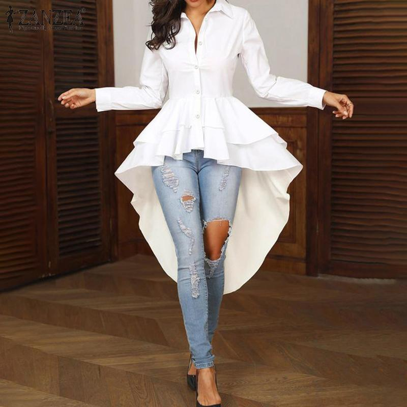 Fashion Women Ruffles Hem Blouse ZANZEA Elegant Lapel Neck Swallowtail Shirts Solid Long Sleeve High Waist Tops Irregular Blusas