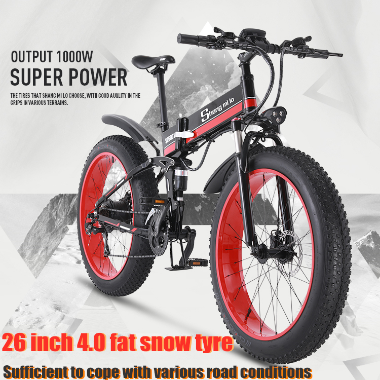 electric bicycle bike 26inch 4.0Fat tire folding adult lithium battery 48v electric bike ebike mountain <font><b>motorcycle</b></font> snow <font><b>e</b></font>-bike image