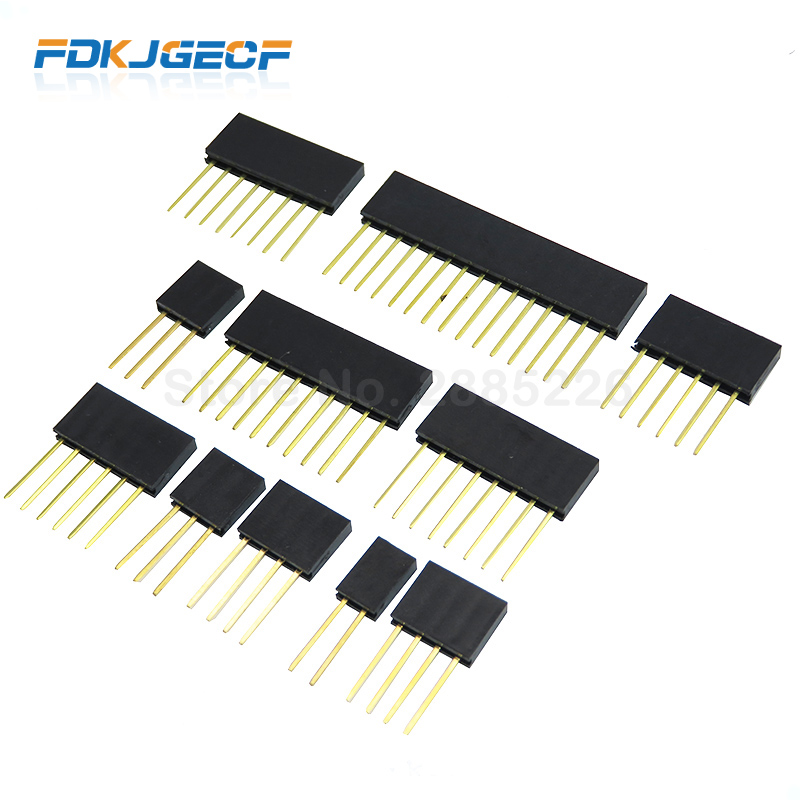 10pcs 2/3/4/6/8/10/15 Pin 2.54 Mm Stackable Long Legs Femal Header For Arduino Shield