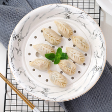 Guci Nordic 10INCH Phnom Penh Dumpling Plate  Double-deck Drainage Large Steamed Fish Deep Household Round