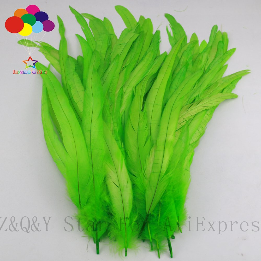 Natural Rooster Tail Feathers Fringe Trim Fruit Green