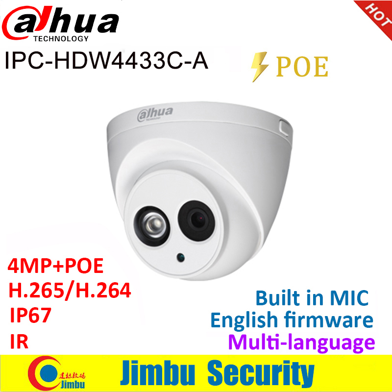 Telecamera IP Dahua 4MP IPC-HDW4433C-A Mini telecamera IR30 POE starlight H265 H264 MIC cctv di rete integrata dome multilingue