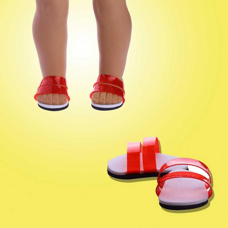 תינוק בובת מוצק צבע נעלי בית אמריקאי תינוק בובת אביזרי בובת נעלי Fit 18