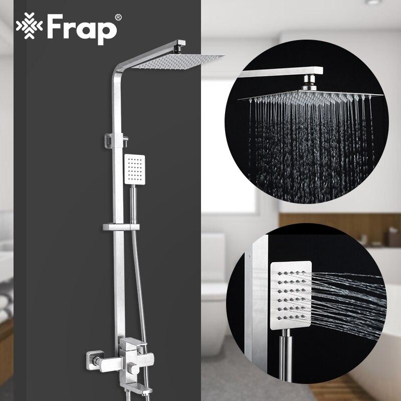 Frap new Luxury Wall Mounted aço inoxidável torneiras Chuveiro de Chuva Set sistema cold & hot water Praça cabeça de chuveiro de mão f2421