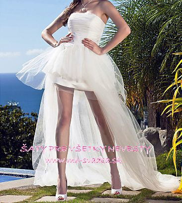 New Arrival Strapless Long Hi-Lo Tulle Wedding Dress Bridal Gown Sleeveless Custom Made 2015 Wedding Gowns