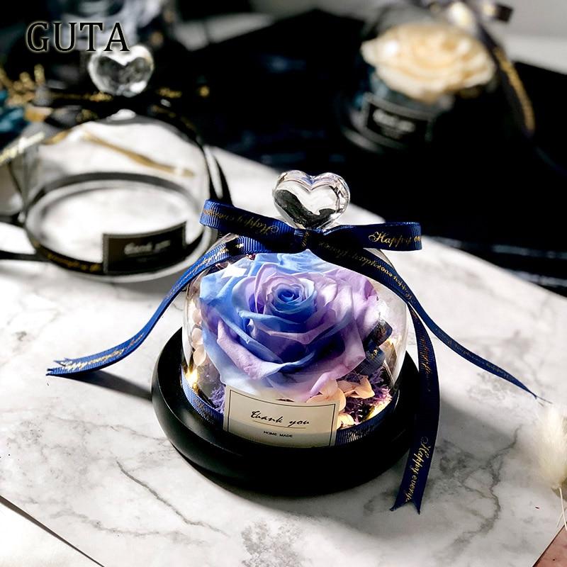 Вечная эксклюзивная Роза в стеклянном куполе Красавица и Чудовище Роза романтические подарки на день Святого Валентина подарок на Рождество подарки на праздник - Цвет: G01-P