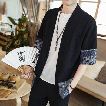 Men's Kimono Robe Fashion Loose Cardigan Outerwear Vintage Chinese Style Male Jackets Casual Overcoats All-match tops kung fu