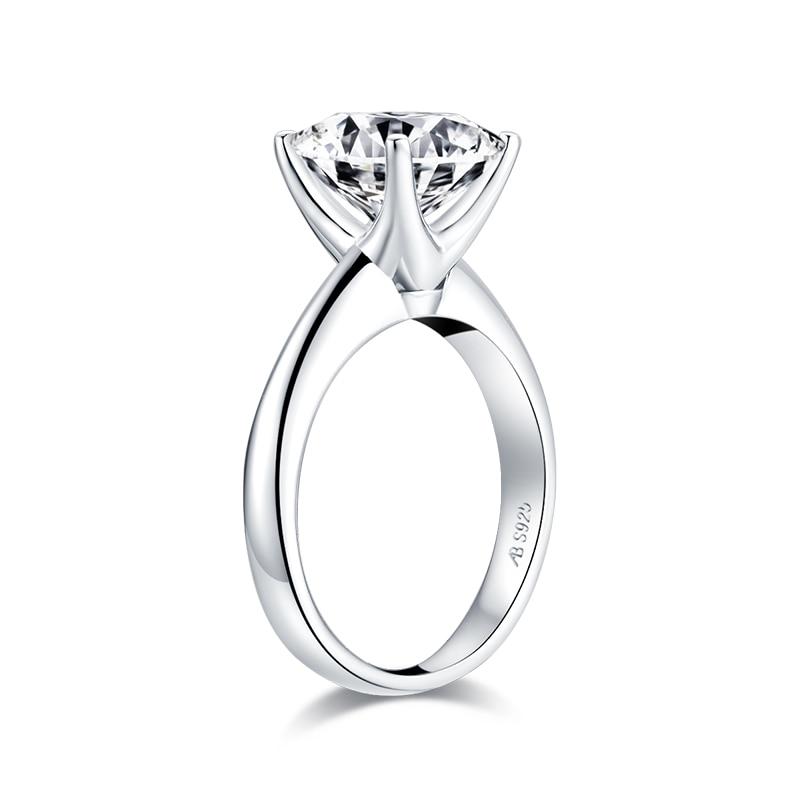 solitaire anel de noivado simulado diamante prata anéis de casamento jóias