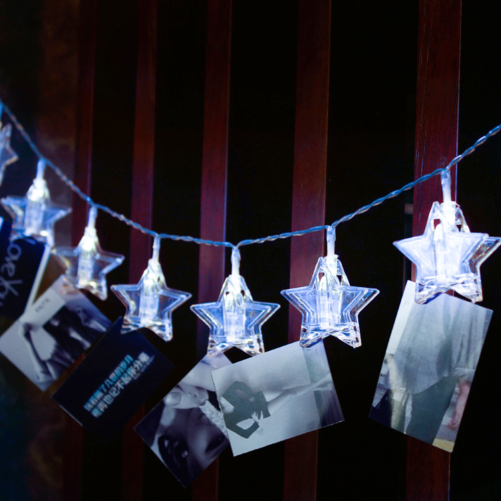 Stars LED Garlands Card Photo Clip String Lights Battery Operated Light Strings Twinkle Decorative Clamp Fairy Light 10/20/30/50