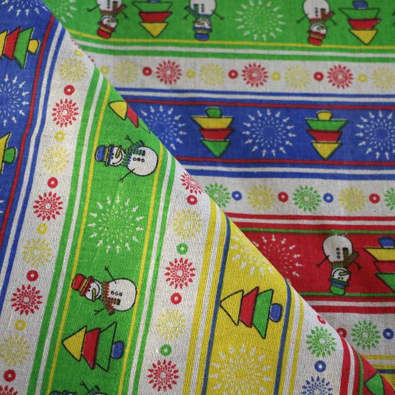 Tela de decoración de Navidad para coser tela de poliéster de lino para zakka bolsa de almacenamiento o tela de mesa material de costura K111