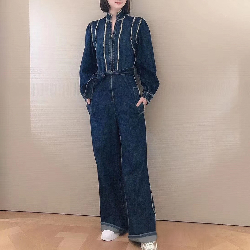 Wide Leg Denim Jumpsuit Women Fashon Spring Solid Elegant Full Length Office Runawy Playsuits Long Pants Overalls Lady Clothing - 3