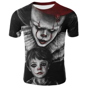 Horror film to Penny mądry Clown Joker 3D t-shirt z nadrukiem mężczyźni kobiety hiphopowy sweter Tee T shirt 90s chłopcy fajne ciuchy człowiek topy tanie i dobre opinie Krótki Tees Hip Hop Cartoon Poliester spandex routine O-neck Suknem