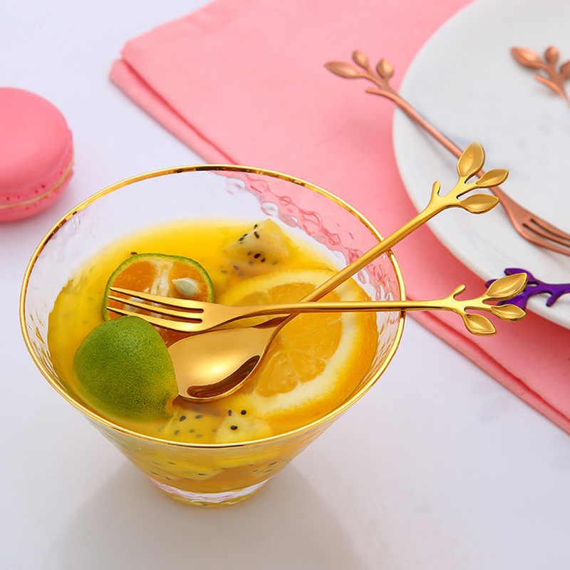 創造葉形状ハンドルコーヒースプーンティースプーンデザートスナックスクープフォークカップルスプーン/フォークキッチンアクセサリー食器