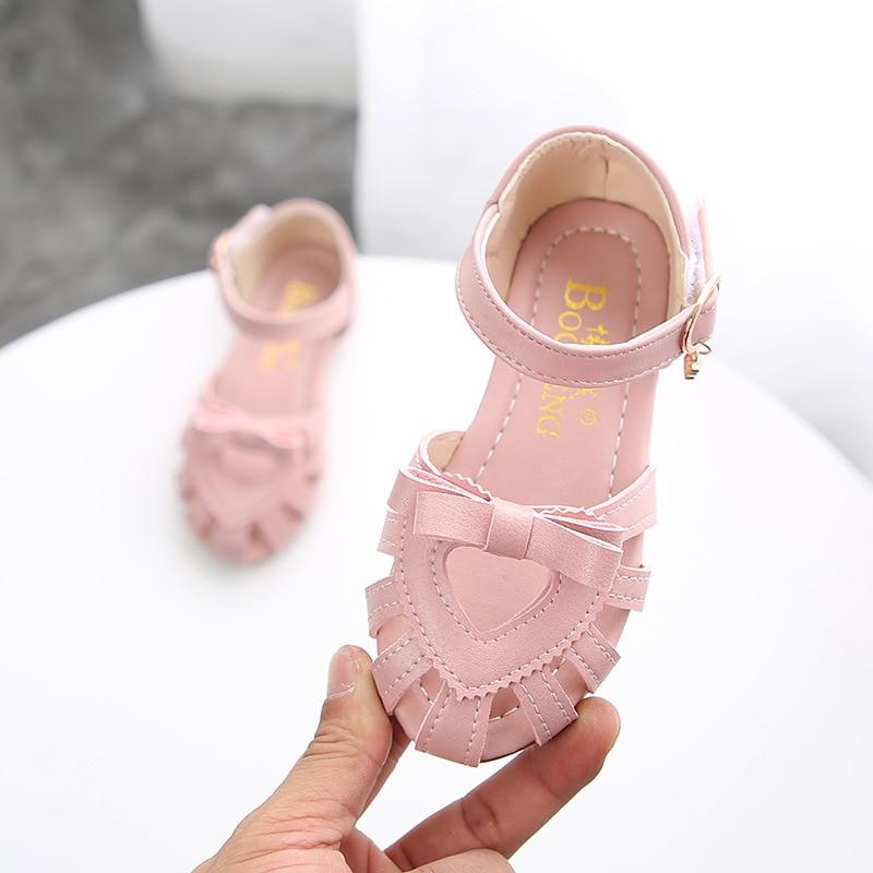 ULKNN Toddler Girl Sandals Solid Elegant Heart Design Sandals Shoes For Girls Kids Summer Beach Sandal Outdoor Shoes