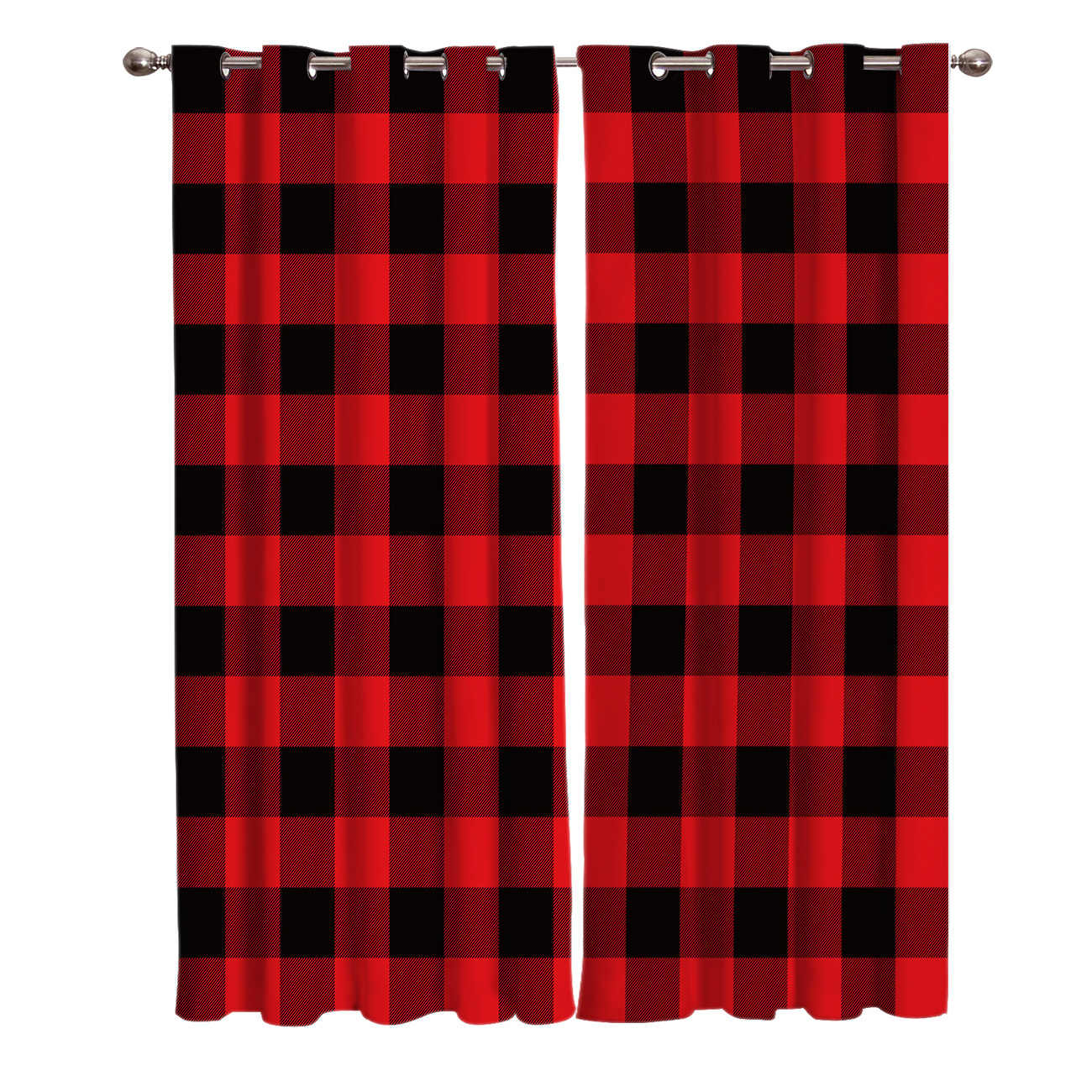 Étonnant Traitement à carreaux géométriques rouge et noir, pour fenêtre LC-08