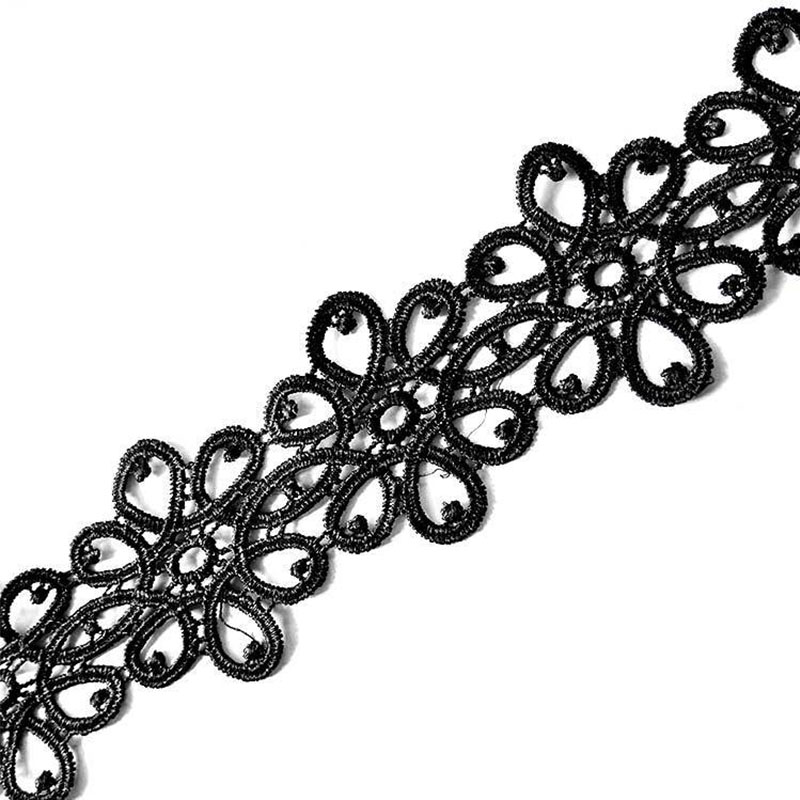 100 Yards 55MM Black DIY Embroidered Lace Trim Fabric For Sewing Skirt Hem Dance Costumes Garment Accessories Lace Trim Craft