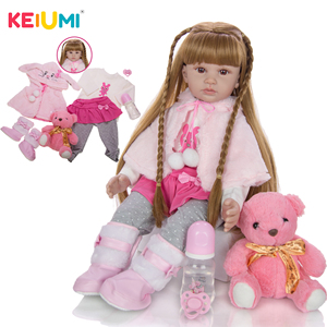Fashion Real Soft Silicone Baby Reborn Girl Doll 60 cm Lifelike Reborn Baby Dolls Toy Newborn Toddler Educational Gifts Dropship(China)