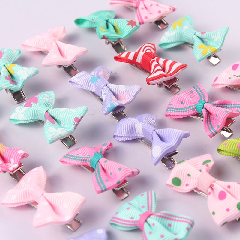 10pcs Cute Cartoon Candy Color Ribbon Bow Hair Clips Hair Pin Rainbow Hair Clip Girl Kids Duckbill Hairpins Hair Styling Tool